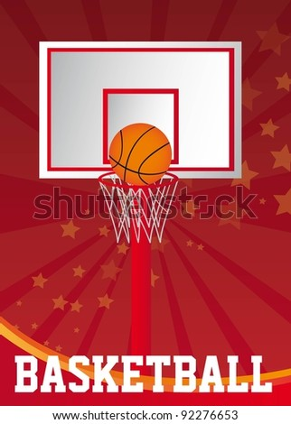 basketball poster with basketball ball over red background. vector - stock vector