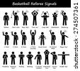Basketball Referees Officials Hand Signals Stick Figure Pictogram Icons - stock vector