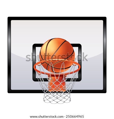 Basketball ring isolated on white photo-realistic vector illustration - stock vector