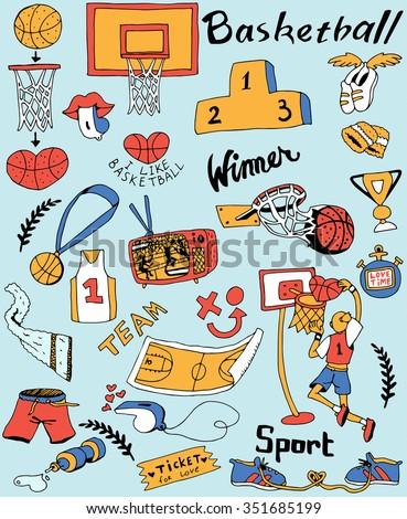 Basketball Set - stock vector