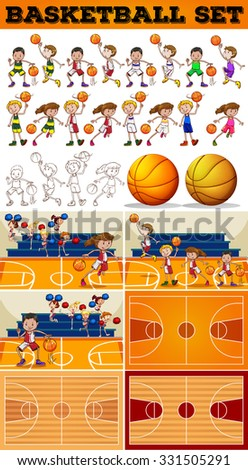 Basketball set with players and courts illustration - stock vector