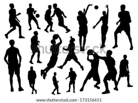 Basketball silhouette set - stock vector