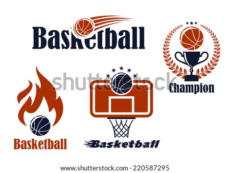 Basketball sport team emblems and symbols in retro style for sporting design - stock vector