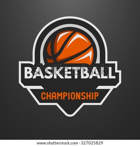 Basketball sports logo, label, emblem on a dark background. - stock vector