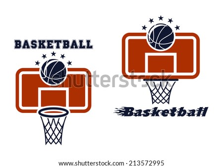 Basketball symbols and emblems with backboard and flying ball - stock vector