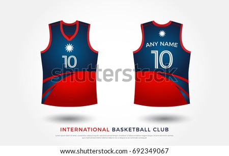 Basketball T Shirt Design Uniform Set Of Kit Jersey Template Red And
