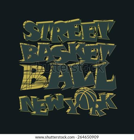 Basketball t-shirt graphic design. New York City streetball typography emblem,  Print for sportswear apparel - vector illustration  - stock vector