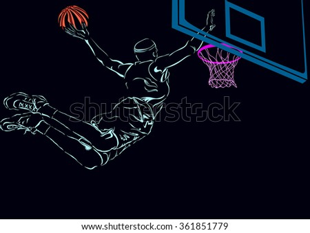 Basketball. The basketball player throws a ball in a basket - stock vector