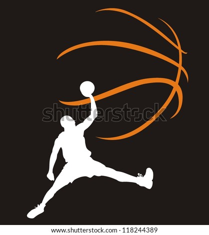 Basketball. The player in a jump - stock vector