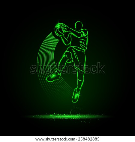 Basketball. The player jumping with the ball. neon style - stock vector