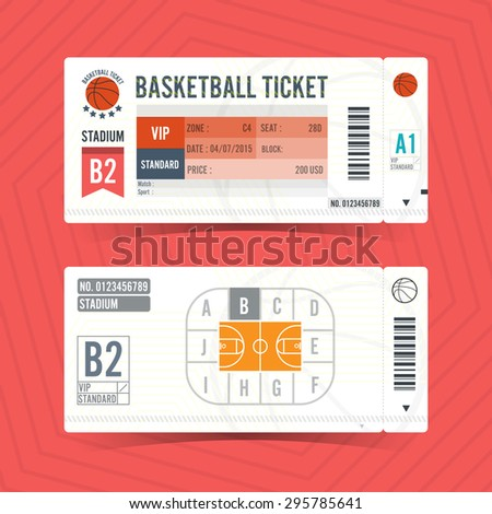 Basketball Ticket Card modern element design - stock vector