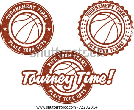 Basketball Tournament Betting Stamps - stock vector