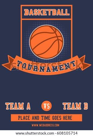 Basketball Tournament Flyer Poster Template Stock Vector 608105714