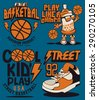 basketball vector graphic set for tee