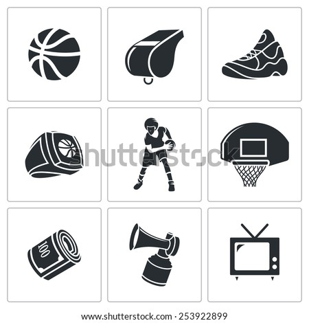 Basketball Vector Icons Set - stock vector