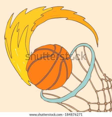 Basketball  vector illustration, hand drawn - stock vector