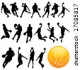 basketball vector set - stock vector