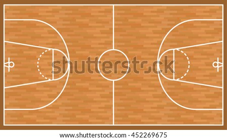 Basketball wooden court background, parquet field. Vector illustration