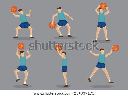 Basketballer in green jersey and blue shorts jumping, aiming, shooting and throwing basketball vector cartoon illustration. - stock vector