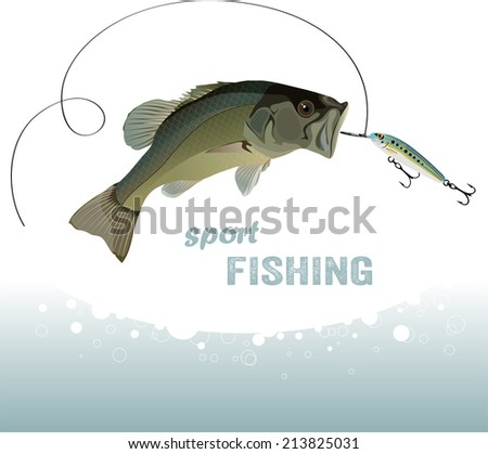 bass fishing, bass catches the bait, vector illustration - stock vector