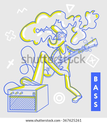 Bass guitar player - stock vector