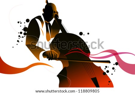 Bass Player Illustration - stock vector