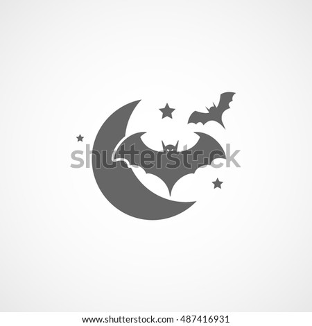 Bat And Moon With Stars Halloween Concept Flat Icon On White Background