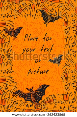 Bat background in orange and black colors. Halloween card or invitation with empty space for text. Vertical banner with fantasy frightful creature with fish tale on abstract feather background. Vector - stock vector