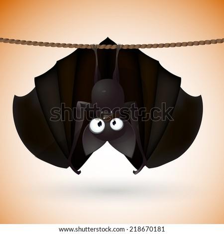 bat funny  - Halloween vector illustration  - stock vector