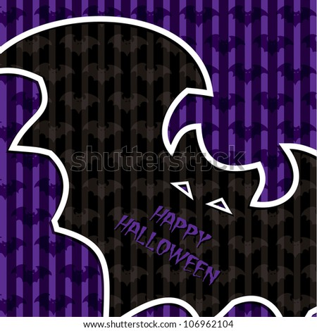 "Bat ""Happy Halloween"" card in vector format."