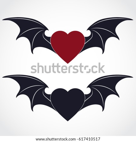 Bat Wing Red Dark Heart Symbol Stock Vector Royalty Free 617410517
