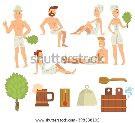 Bath people body washing face and bath people taking shower. People couples steam bath and take beer luxury relaxation. Young couple relaxing in spa health care concept bath people brushing vector. - stock vector