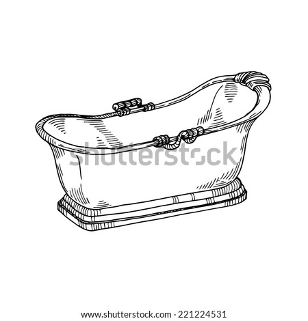 Bath Vintage, freehand drawing, gravure style - stock vector