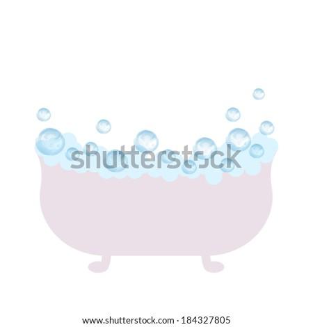 bath with foam - stock vector