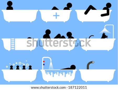 Bathing scenes - stock vector