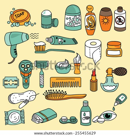 Bathroom and beauty icon set. Vector - stock vector