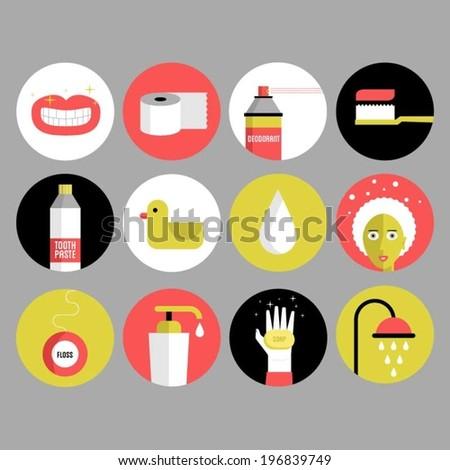 Bathroom and Hygiene Icons - stock vector