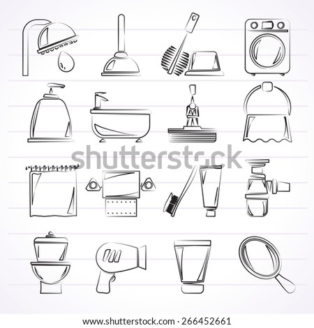 Bathroom and hygiene objects icons -vector icon set, Created For Print, Mobile and Web  Applications - stock vector