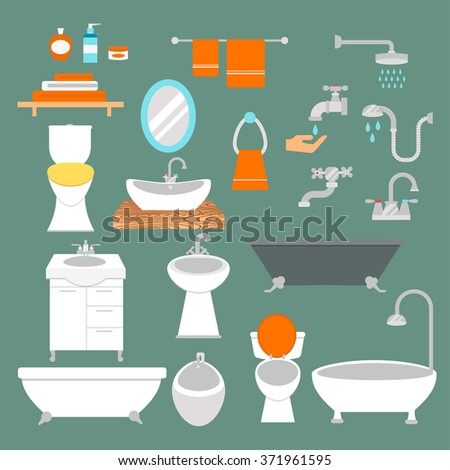 Bathroom and toilet flat style vector icons isolated on background. Bathroom  tools and sign vector illustration. Bathroom icons - stock vector