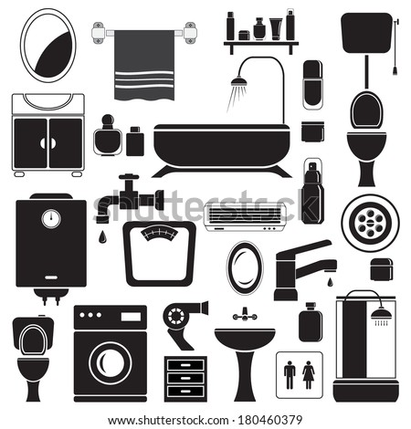 Bathroom and toilet icons set, black isolated on white background, vector illustration. - stock vector