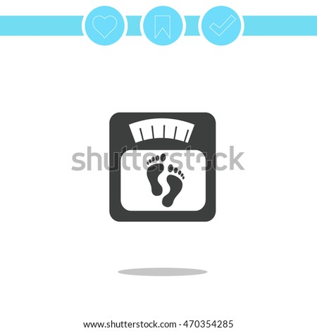 bathroom digital scale with footprint sign. vector icon. footprints on bathroom scale
