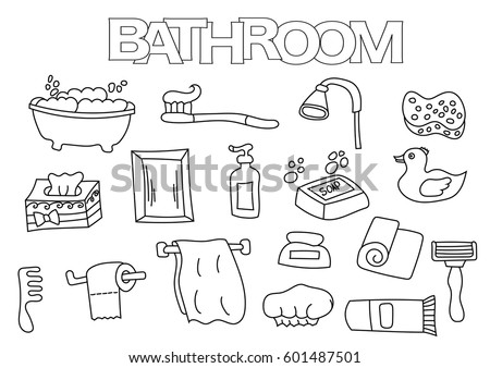 Bathroom Elements Hand Drawn Set Coloring Book Template Outline Doodle Vector Illustration
