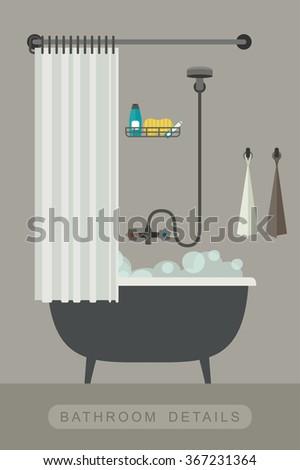 bathroom equipment interior with bath in flat style vector illustration