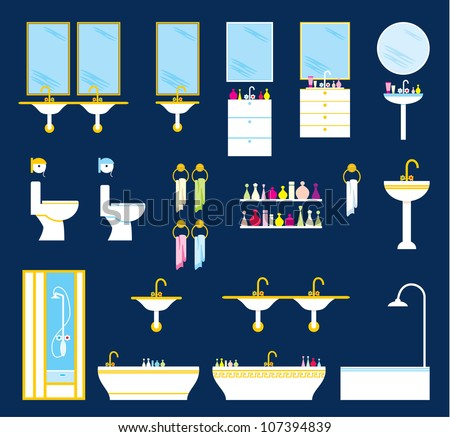 Bathroom equipment set. vector