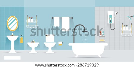 Bathroom Furniture Display Panorama, Household, Home Interior Objects - stock vector