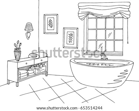 Bathroom Graphic Interior Black White Sketch เวกเตอร์สต็อก ...