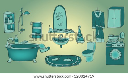 bathroom green - stock vector