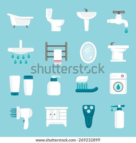 Bathroom icon set - stock vector