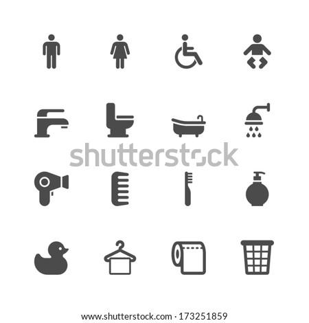Bathroom icons - stock vector