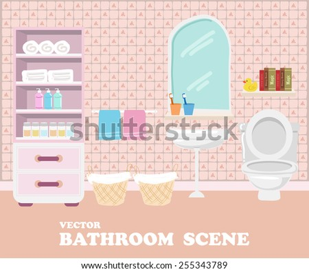 Bathroom interior - stock vector
